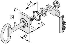 Verschlusssystem 8, Doppelbartschloss mit Rosette, linksschließend