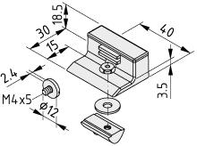 Magnetanschlag für Klemmprofil 8 32x18