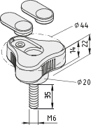 Dreisternschraube Pi D44 M6x35 PA, grau