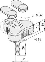 Tri-Lobe Hand Knob Pi, male, D54 M8x20 PA, grey