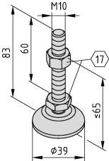 Stellfuß D40, M10x80, rostfrei