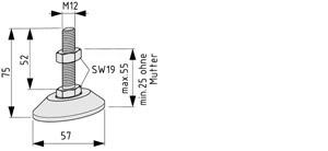 Stellfuß D60, M12x75, schwarz