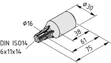 Adapterwelle VK14, schwarz
