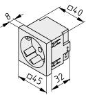 Steckdose 33° M45 1-fach, weiß ähnlich RAL 9010