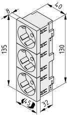 Steckdose 33° M45 3-fach, weiß ähnlich RAL 9010
