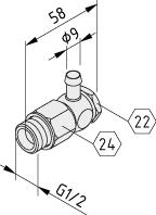 Schwenktülle G1/2 für Schlauch 9mm