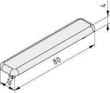 Abdeckkappe 8 80x16, grau ähnlich RAL 7042
