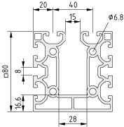Profile X 8 80x80 2N K15 - XMS, natural