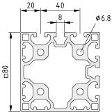 Profil X 8 80x80 4N90 - XMS, natur