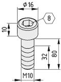 Zylinderschraube DIN 912 M10x80, verzinkt