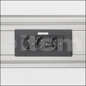 Face Plate M45 3 Gang with Labelling Panel, Horizontal, black grey, similar to RAL 7021