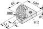 Transport- und Fußplatte 8 80x80-R80, M12, weißaluminium ähnlich RAL 9006